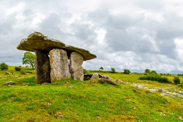 Poulnabrone Dolmen in Ireland, Uk. in Burren, county Clare. Period of the Neolithic.
