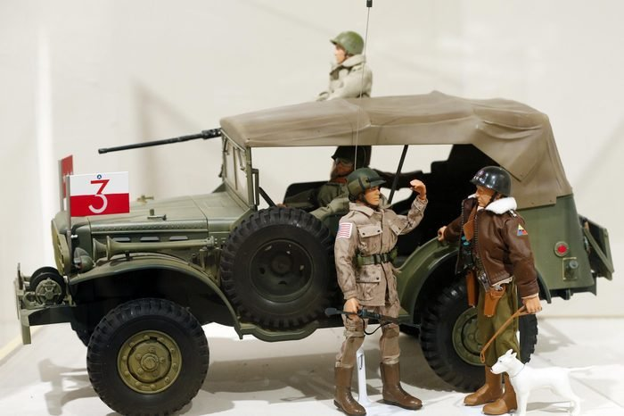 This photo shows a Gen. George Patton G.I. Joe action figure, right, and other G.I. Joes in a display at the New York State Military Museum in Saratoga Springs, N.Y. A half-century after the 12-inch doll was introduced at a New York City toy fair, the iconic action figure is being celebrated by collectors with a display at the military museum, while the toy's maker plans other anniversary events to be announced later this month