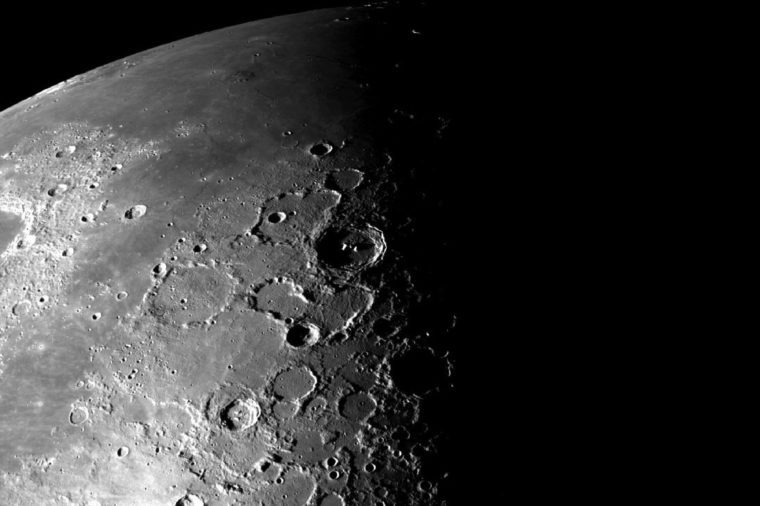 This view of the north polar region of the Moon was obtained by NASA's Galileo camera during the spacecraft flyby of the Earth-Moon system on December 7 and 8, 1992.