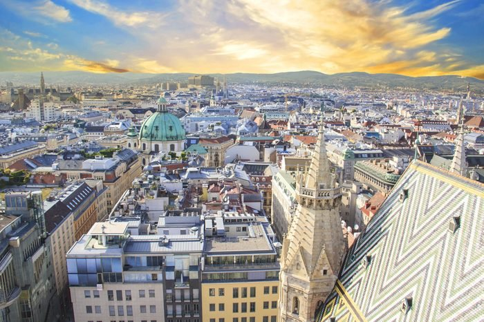 View of St. Peter's Cathedral from the observation deck of St. Stephen's Cathedral in Vienna, Austria