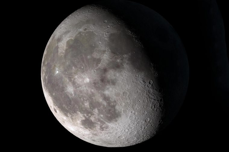"""Waning gibbous. Rises after sunset, high in the sky after midnight, visible to the southwest after sunrise. This marks the first time that accurate shadows at this level of detail are possible in such a computer simulation. The shadows are based on the global elevation map being developed from measurements by the Lunar Orbiter Laser Altimeter (LOLA) aboard the Lunar Reconnaissance Orbiter (LRO). LOLA has already taken more than 10 times as many elevation measurements as all previous missions combined. The Moon always keeps the same face to us, but not exactly the same face. Because of the tilt and shape of its orbit, we see the Moon from slightly different angles over the course of a month. When a month is compressed into 12 seconds, as it is in this animation, our changing view of the Moon makes it look like it's wobbling. This wobble is called libration. The word comes from the Latin for """"balance scale"""" (as does the name of the zodiac constellation Libra) and refers to the way such a scale tips up and down on alternating sides. The sub-Earth point gives the amount of libration in longitude and latitude. The sub-Earth point is also the apparent center of the Moon's disk and the location on the Moon where the Earth is directly overhead. The Moon is subject to other motions as well. It appears to roll back and forth around the sub-Earth point. The roll angle is given by the position angle of the axis, which is the angle of the Moon's north pole relative to celestial north. The Moon also approaches and recedes from us, appearing to grow and shrink. The two extremes, called perigee (near) and apogee (far), differ by more than 10%. The most noticed monthly variation in the Moon's appearance is the cycle of phases, caused by the changing angle of the Sun as the Moon orbits the Earth. The cycle begins with the waxing (growing) crescent Moon visible in the west just after sunset. By first quarter, the Moon is high in the sky at sunset and sets around midnight. The full Moo"""