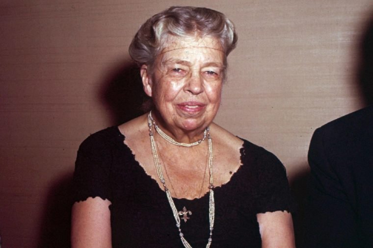 ELEANOR ROOSEVELT Eleanor Roosevelt sits at the farewell dinner honoring Abba Eban, retiring Iraeli Ambassador to the United States, in New York in 1959