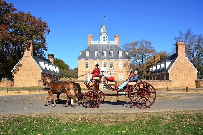 WILLIAMSBURG, VIRGINIA - NOVEMBER 19 2014: The Governors Palace in Colonial Williamsburg, Virginia. It was reconstructed on the original site after a fire destroyed it in the 1930's.