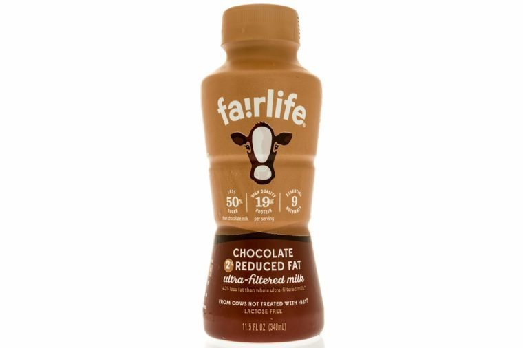 Winneconne, WI - 12 October 2017: A bottle of Fairlife chocolate milk on an isolated background.