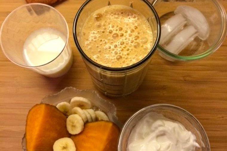 sweet potatoes, banana slices, yogurt, and smoothies in glasses