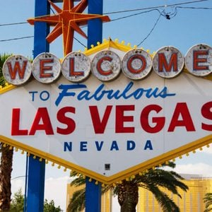 Famous sign welcoming visitors to Las Vegas, Nevada, USA.