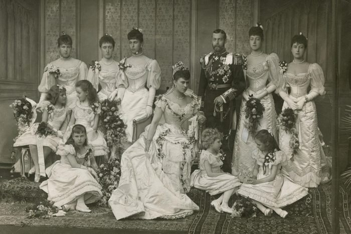 Wedding of King George V Then Duke of York to Princess Victoria Mary of Teck Later Queen Mary On 6 July 1893 the Couple Are Attended by Numerous Bridesmaids Back Row From Left Princess Alexandra of Edinburgh Princess Helena Victoria of Schlweswig-holstein Princess Victoria Melita of Edinburgh Princess Victoria of Wales and Princess Maud of Wales Front Row From Left Princess Alice of Battenberg Princess Margaret of Connaught Princess Beatrice of Edinburgh (seated) Princess Ena of Battenberg and Princess Patricia of Connaught 1893
