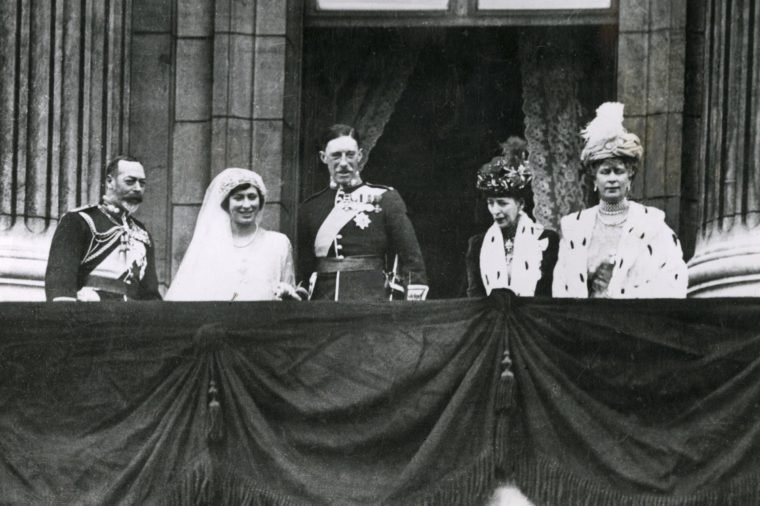 The Wedding of Princess Mary Only Daughter of King George V and Queen Mary to Viscount Lascelles Later 6th Earl of Harewood On 28th February 1922 the Royal Party On the Balcony of Buckingham Palace From Left to Right: King George V; Princess Mary (later Princess Royal and Countess of Harewood); Lord Lascelles; Queen Alexandra (grandmother of Princess Mary); Queen Mary 28th February 1922