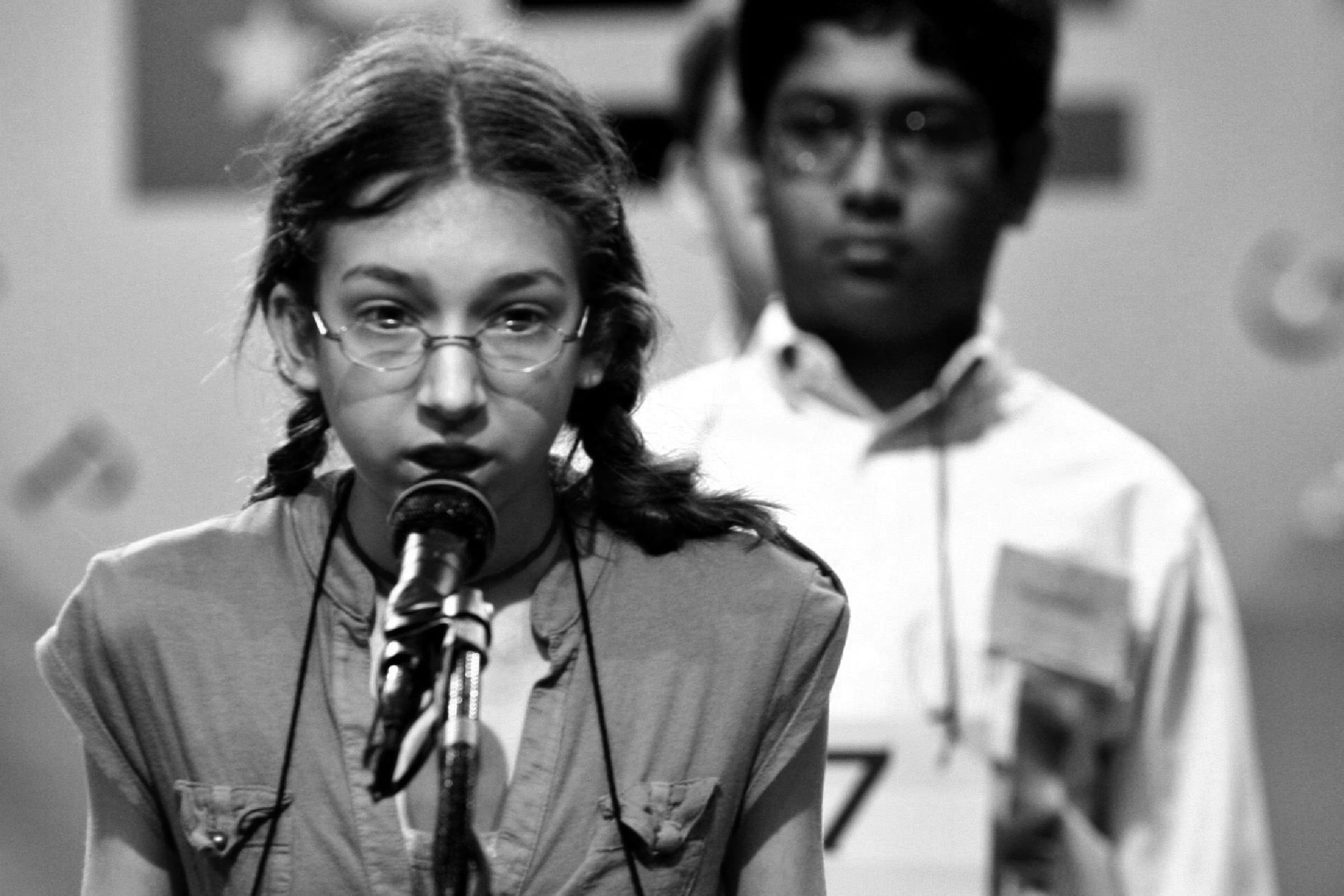 Mattia H Phaneuf 13 of West Tisbury Massachusetts Spells Her Word During the 2006 Scripps National Spelling Bee in Washington Dc On Tuesday 31 May 2006 the Winner of the Competition Will Be Announced For the First Time On Live Prime Time Television Tomorrow Evening There Are 275 Spellers in the Competition