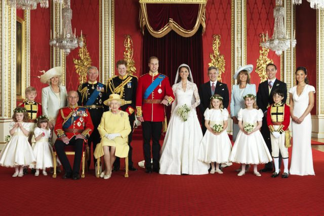 Prince William Prince William with his bride Catherine the Catherine Duchess of Cambridge (centre), Front row (left to right): Miss Grace van Cutsem, Miss Eliza Lopes, The Prince Philip, Queen Elizabeth II, The Hon. Margarita Armstrong-Jones, Lady Louise Windsor, Master William Lowther-Pinkerton. Back Row (left to right): Master Tom Pettifer, Camilla Duchess of Cornwall, Prince Charles, Prince Harry of Wales, Mr Michael Middleton, Mrs Michael Middleton, Mr James Middleton, Miss Pippa Middleton.
