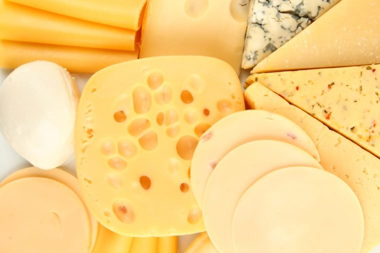 Various types of cheese close up
