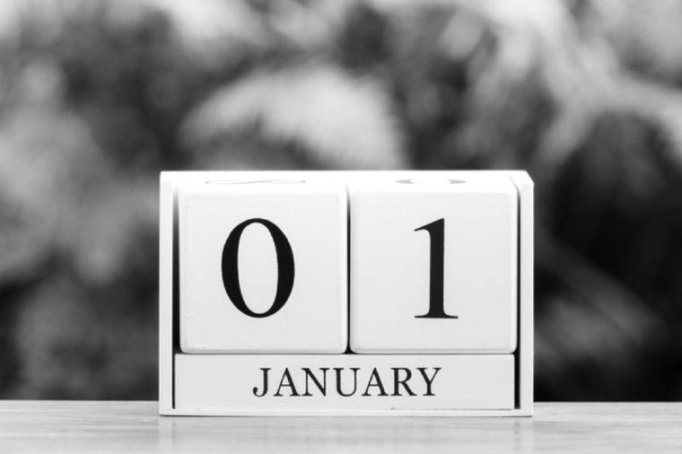 January 1st.Happy new year.Cube calendar on wooden table with Bokeh background.
