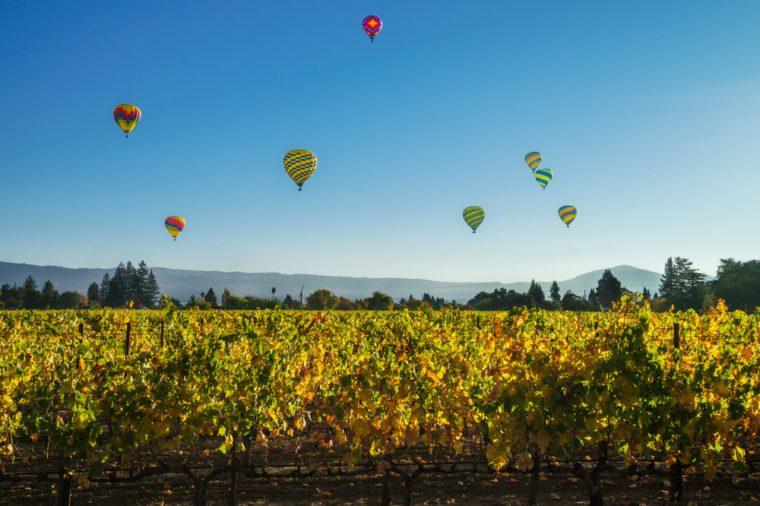 Hot-air balloons above a vineyard in Napa Valley, California, USA