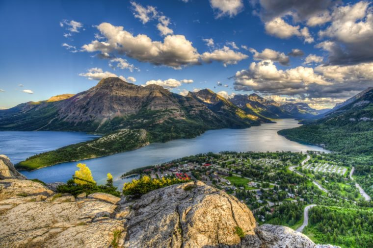 Mountain top views overlooking Waterton Lakes and Townsite, Waterton National Park Canada