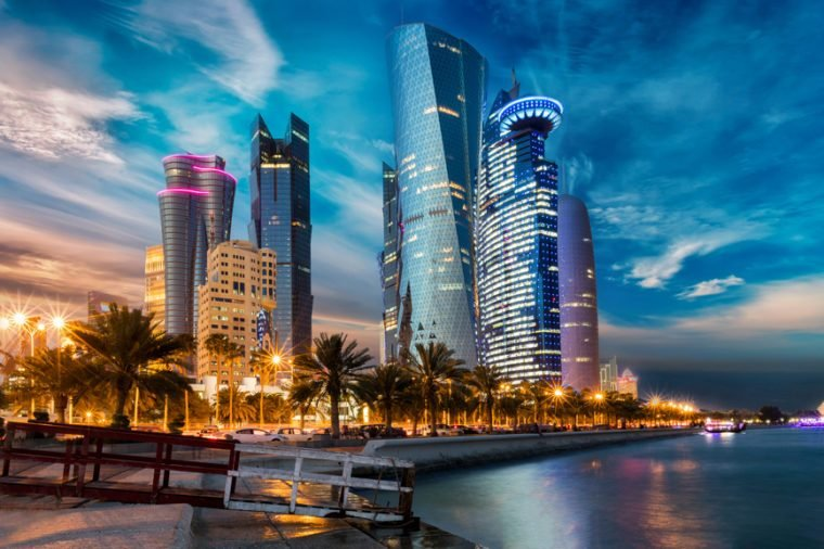 The skyline of Doha city center after sunset, Qatar