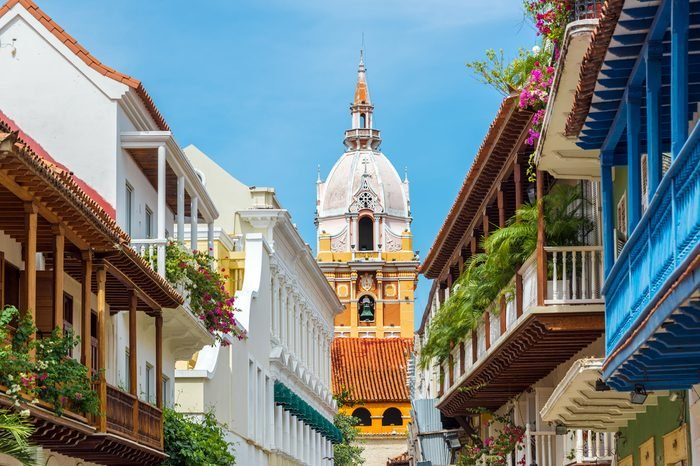 View of balconies leading to the stunning cathedral in Cartagena, Colombia