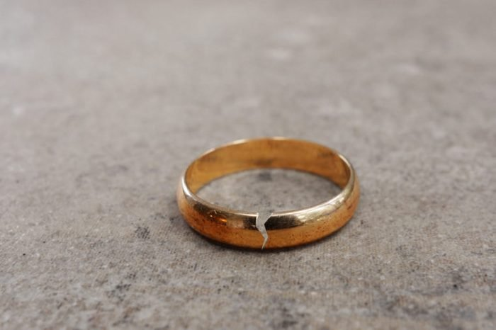 Gold wedding ring with a crack in it -- divorce concept