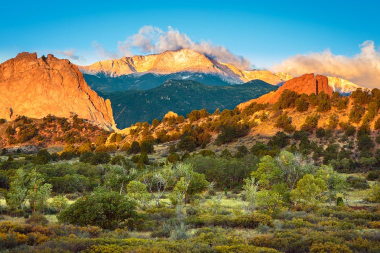 Sunrise looking out over the Garden of The Gods and Pike's Peak in Colorado Springs, Colorado