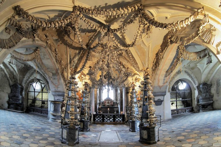 Interior of the Sedlec ossuary (Kostnice) decorated with skulls and bones, Kutna Hora, Czech Republic