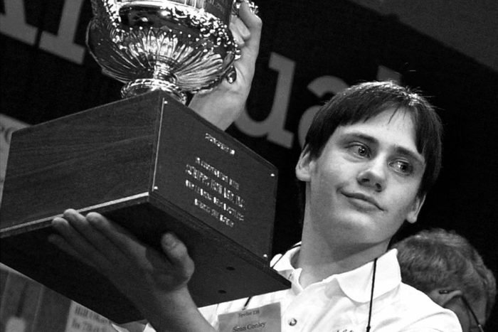 CONLEY Sean Conley, 13, of Shakopee, Minn., holds a trophy after winning the 74th annual National Spelling Bee in Washington