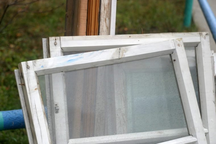 The ejected window frame with glass