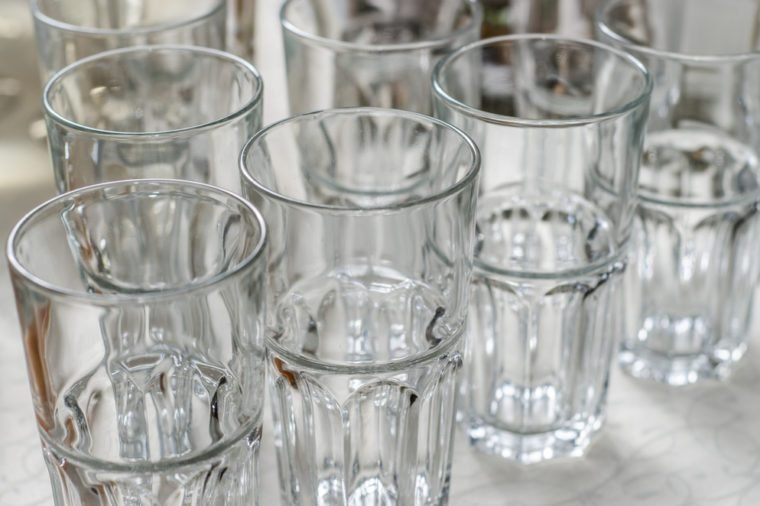 empty glasses on a banquet table close-up