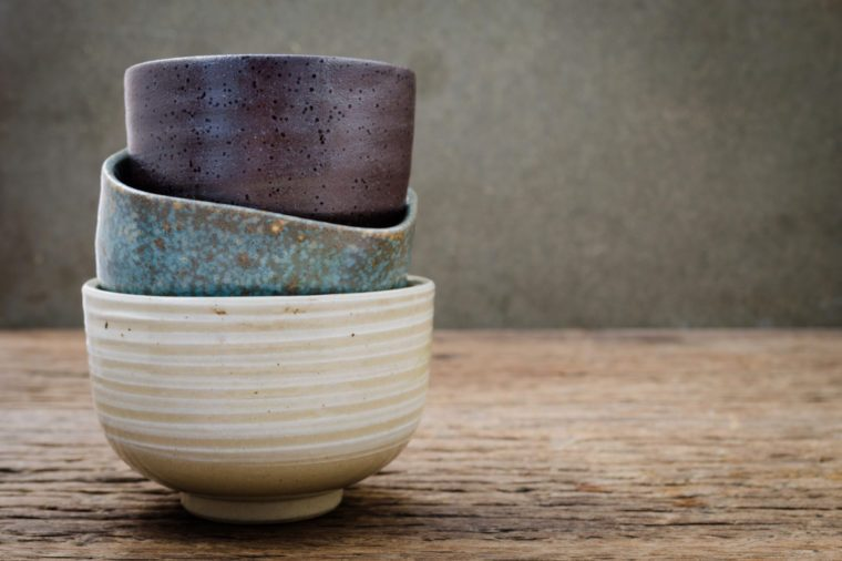 Empty bowl on rustic wood, Japanese handmade ceramic bowl, ceramic texture