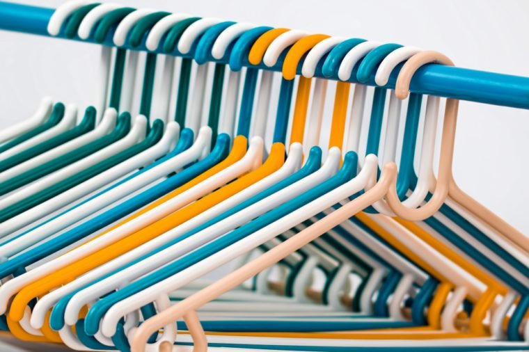 colored plastic clothes hangers