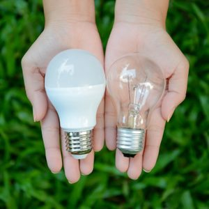 LED and Fluorescent bulb comparing on woman hand for alternative technology concept
