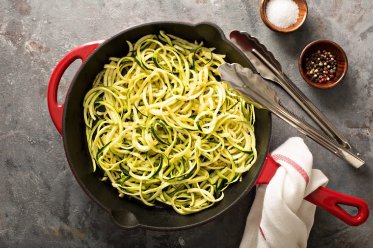 59ab74def3ab Cooked spiralized zucchini noodles in a cast iron pan overhead view