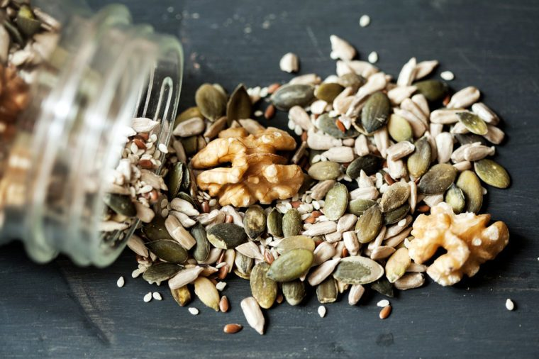 Various seeds , nuts seeds , pumpkin seeds and varies in glass jar