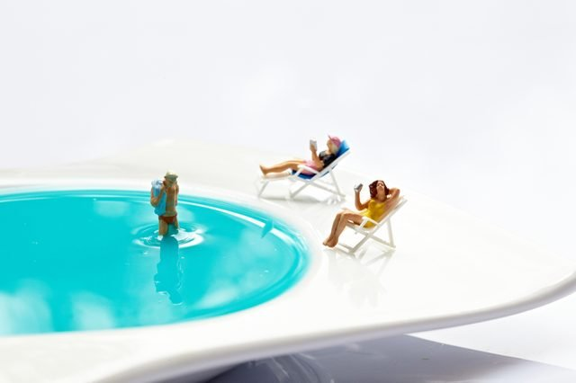 Miniature world. relax by the pool