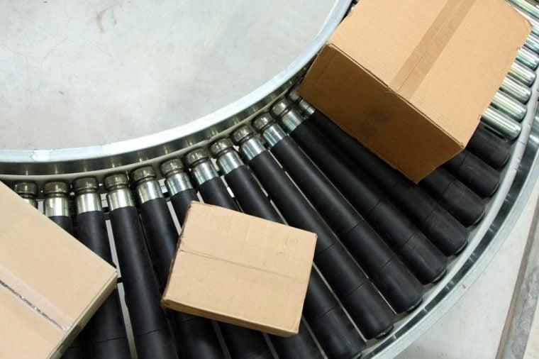 Boxes On Conveyor Belt