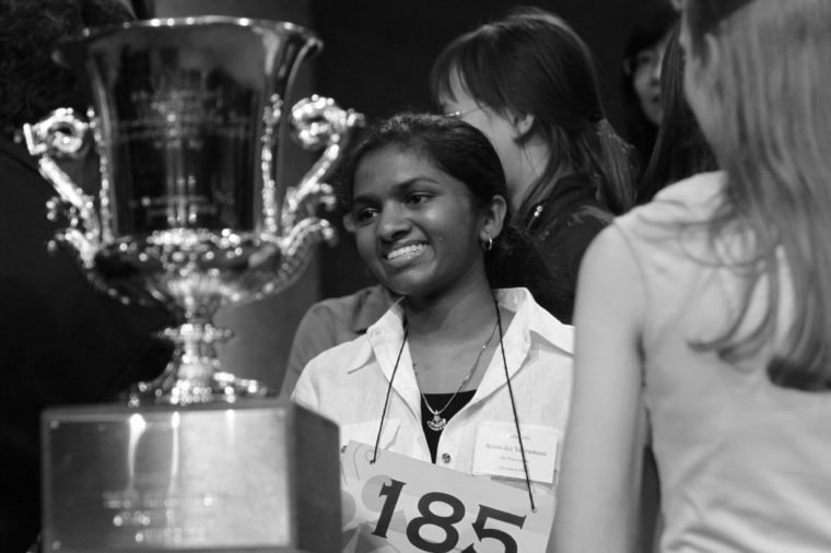 Anamika Veeramani Anamika Veeramani, 14, of North Royalton, Ohio, looks at her trophy after winning the 2010 National Spelling Bee in Washington, on