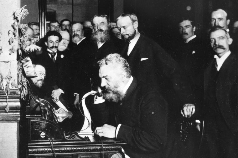 1892 - 'Early Photo Of Alexander Graham Bell, Inventor Of The Telephone, Talking Into An Early-style Telephone At The Opening Of The New York-chicago Line'