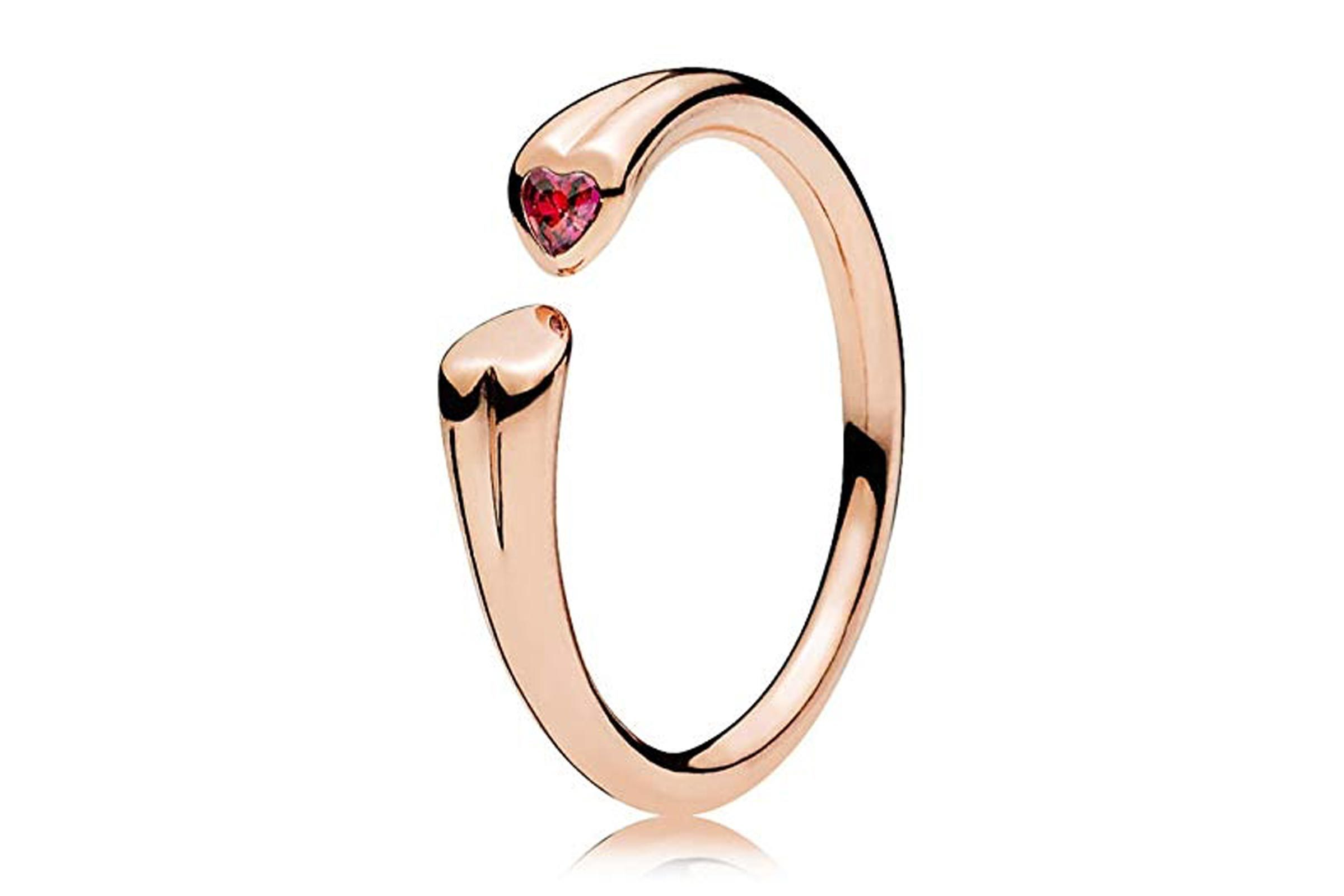 PANDORA Two Hearts Open Ring in PANDORA Rose W/ 1 Flush-Set Heart-Shaped Red CZ 186570CZR-58, 8.5 US
