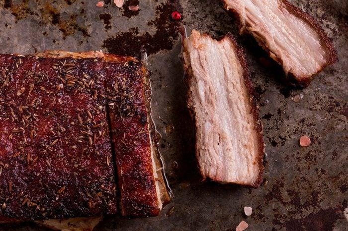 Crispy Roast Pork Belly. Slice Roast Pork Belly.
