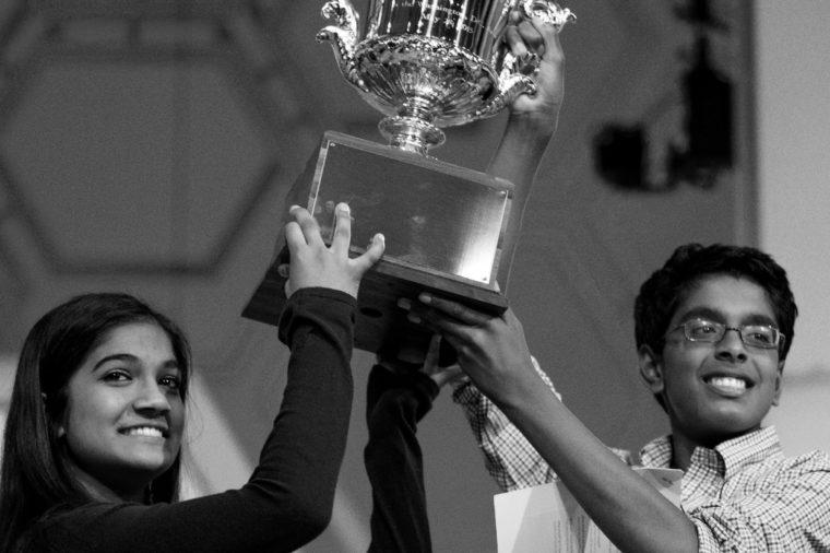 Vanya Shivashankar, Gokul Venkatachalam. Vanya Shivashankar, 13, left, of Olathe, Kan., left, and Gokul Venkatachalam, 14, of St. Louis, hold up the trophy as co-champions after winning the finals of the Scripps National Spelling Bee, in Oxon Hill, Md