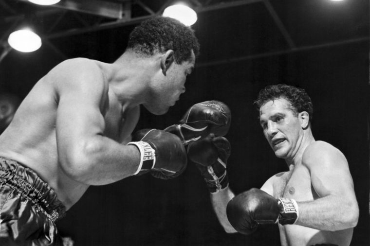 New York, New York: June 19, 1946. Heavyweight champion Joe Louis is about to deliver the knockout punch to challenger Billy Conn in their championship bout at Yankee Stadium.