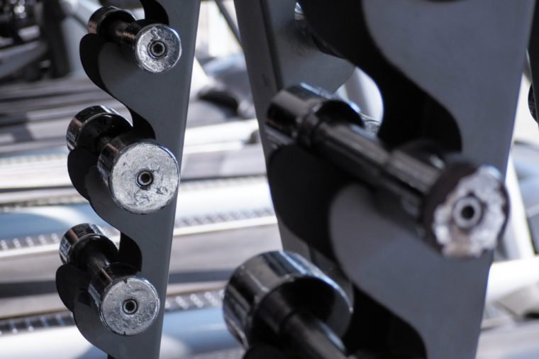Close up of metal small dumbbells in a row in the gym.