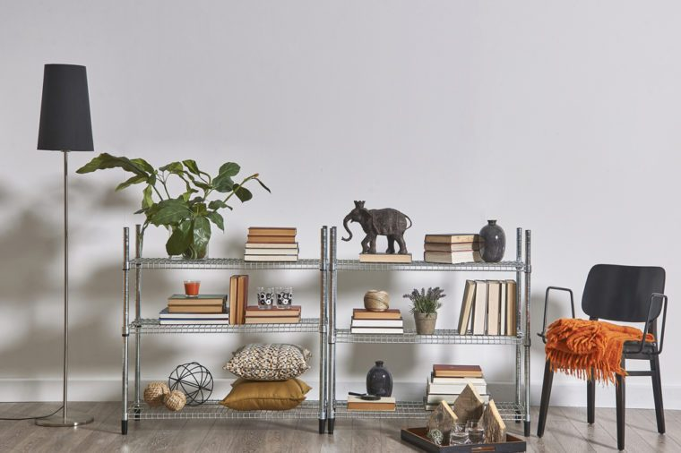modern bookcase and accessories and frame wall concept room decoration