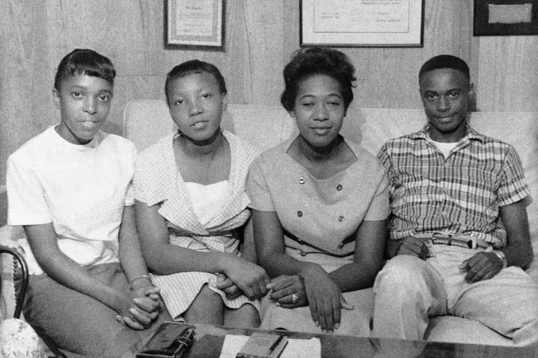 These four students pose in Little Rock, Arkansas, . Today they will enter formerly all-white high schools in Little Rock. From left to right: Elsie Robinson, 16; Estella Thompson, 16; Effie Jones, 17 and Jefferson Thomas, 16. The girls will attend Hall High and Thomas will go to Central High School