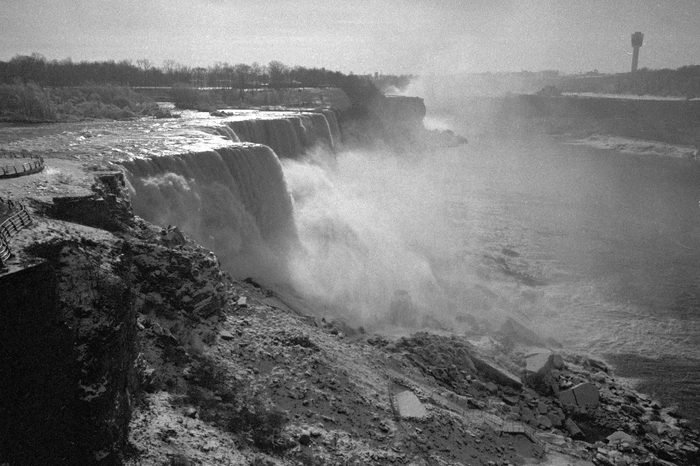 Niagara Falls in New York State is pictured in Nov. 1969, after the flow of water was turned back into the falls following repairs made during the summer and fall of 1969