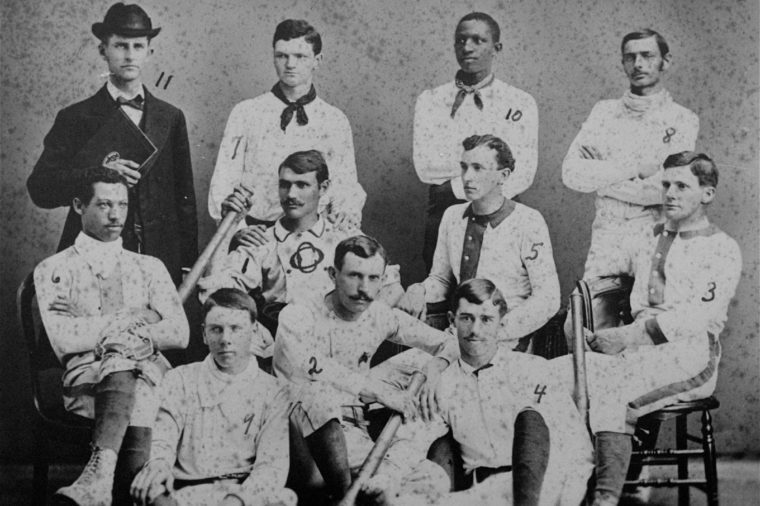 The first varsity baseball team of Oberlin College in Ohio poses for a group portrait in 1881. Moses Fleetwood Walker (no. 6 in the middle row) and his brother Weldy (no. 10) were the first blacks to play major league baseball for Toledo when Toledo was a major league team in 1884