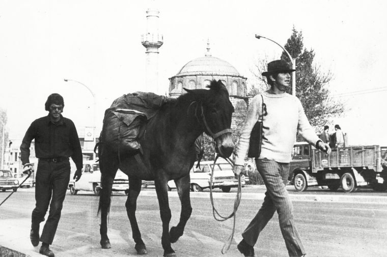 Brothers John and Dave Kunst, attempting to be the first humans to circle the globe on foot, arrive in Ankara, Turkey,, with their mule. They have covered more than 5,000 miles and half their time has elapsed