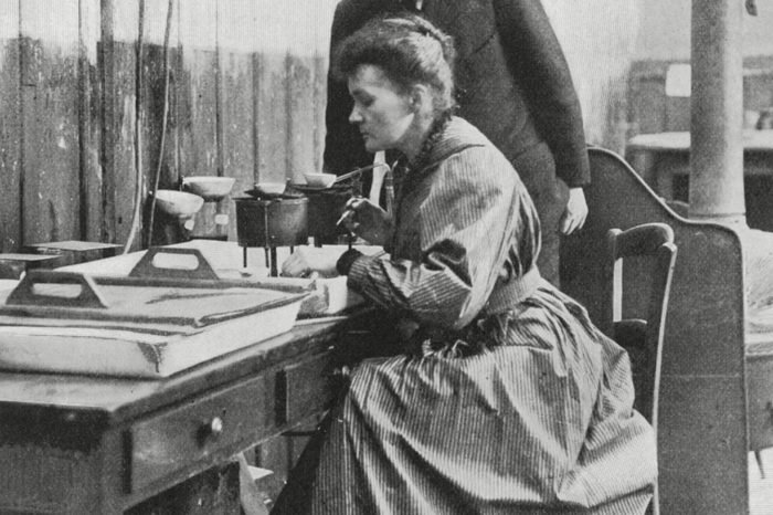 Marie and Pierre Curie in Their Laboratory Paris