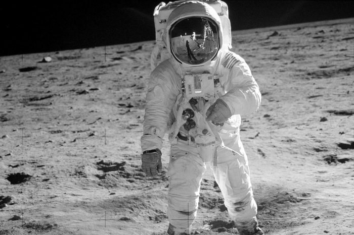 In this 1969 photo released by NASA, astronaut Buzz Aldrin walks on the surface of the moon near the leg of the lunar module Eagle during the Apollo 11 mission. Astronaut Neil Armstrong, who took the photograph, is reflected in Aldrin's visor. From through Nov. 2., Skinner Auctioneers and Appraisers is selling more than 400 vintage prints of photos, including the photo of Aldrin, made by American astronauts from 1961 to 1972
