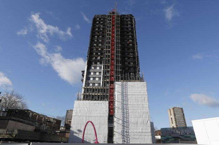 Nearly a third of the Grenfell Tower is covered with scaffolding in London, . 71 people were killed as a massive fire raced through the high-rise apartment building on June 14, 2017