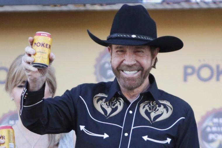 Chuck Norris attends event of beer company in Cartagena de Indias, Colombia - 27 Feb 2018