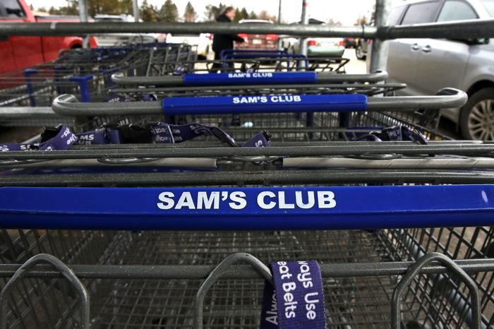 Shopping carts in a corral in the parking lot of a Sam's Club store in Concord, N.H